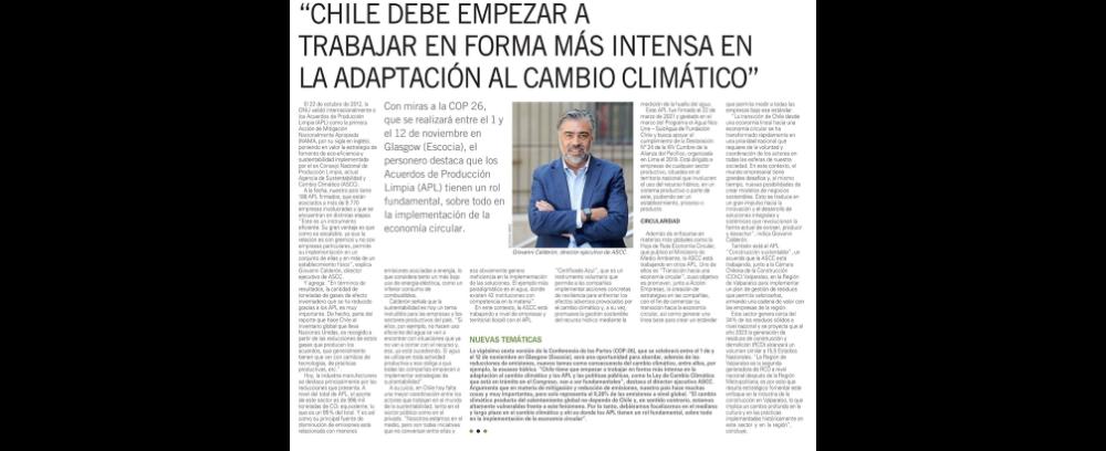 """""""Chile debe empezar a trabajar en forma más intensa en la adaptación al cambio climático"""""""